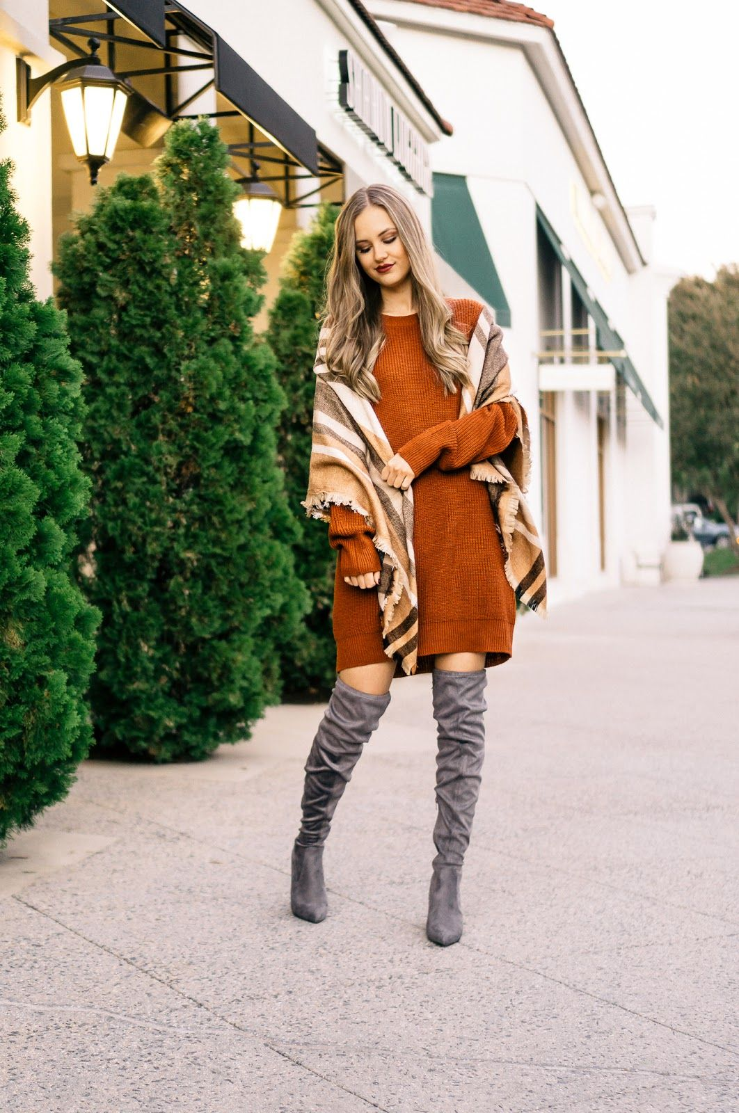 23968fa9750 A Casual Thanksgiving Day Outfit - sweater dress and over the knee boots