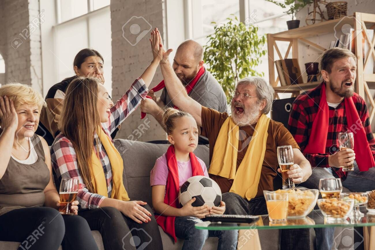 Excited Happy Big Family Watching Football Soccer Match On The Couch At Home Fans Emotional Cheering For Favourite N In 2020 Soccer Match Animated Cartoons Have Fun