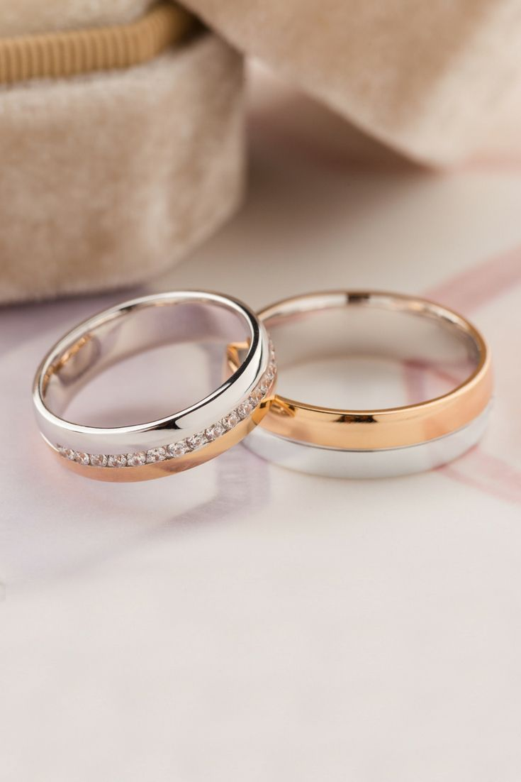Gold wedding bands with diamonds. Two tone wedding bands.
