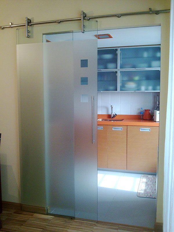 Ejemplo puerta y fijo de acero y cristal para cocina en - Cocinas de cristal ...