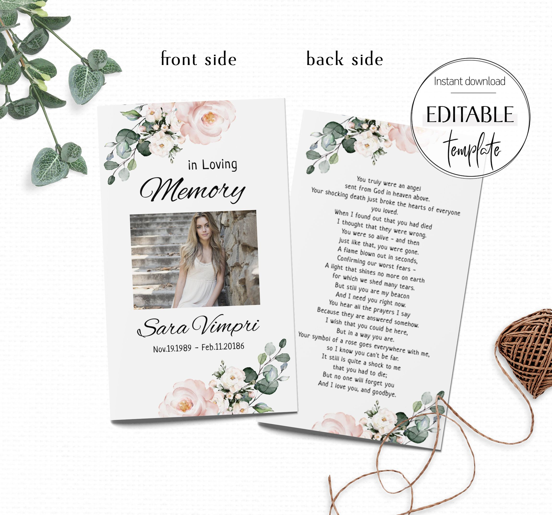 Editable Funeral Prayer Card Template Celebration Of Life Etsy Memorial Cards For Funeral Prayer Cards Funeral Prayers