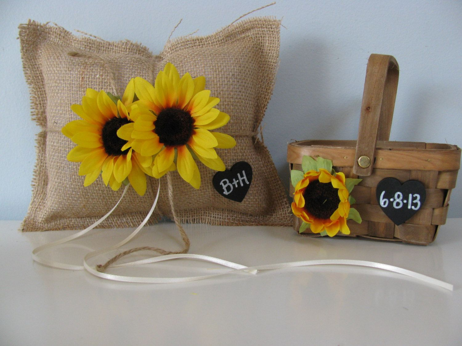 Sunflower ring pillow and flower girl basket available via etsy rustic burlap wedding ring bearer pillow and flower girl basket set sunflowers personalized chalkboard tag you customize flower colors izmirmasajfo Images