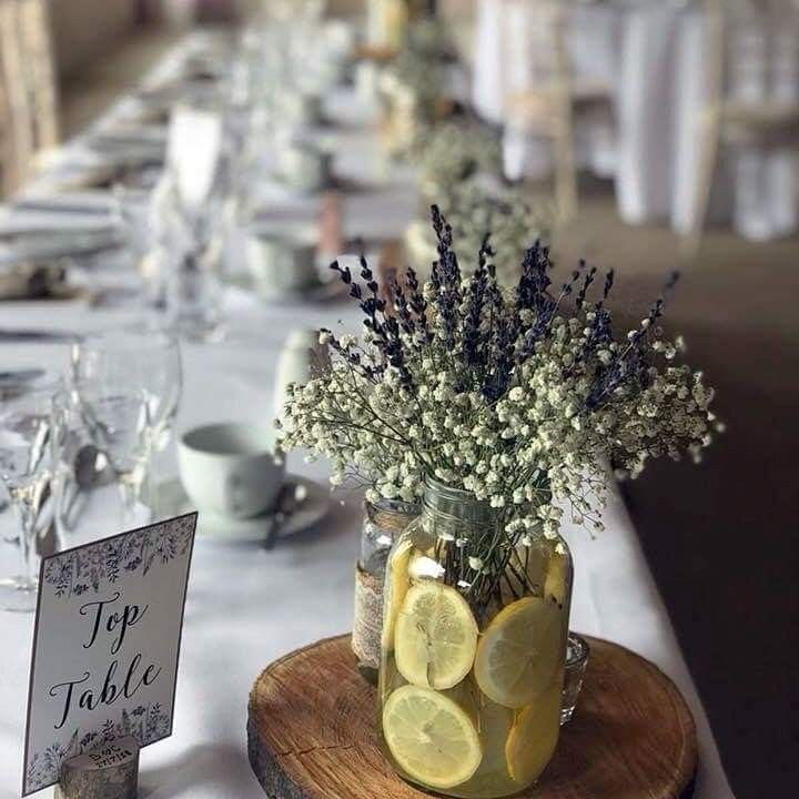 Lemon And Lavender Table Setting With Lavender Table Numbers Lavender Wedding Decorations Lavender Baby Showers Lavender Decor
