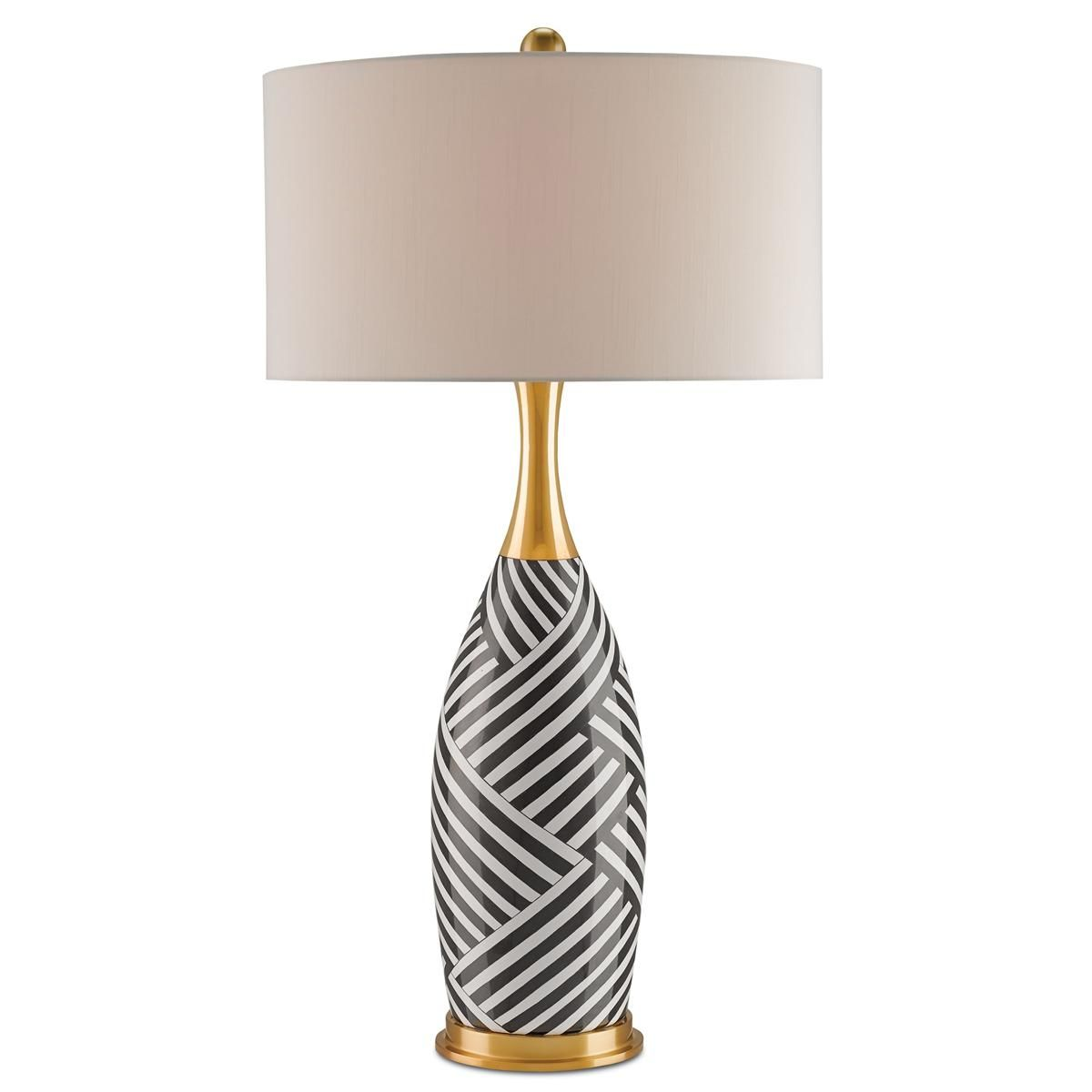 Modern Mixed Stripes Table Lamp Black and white stripes ...