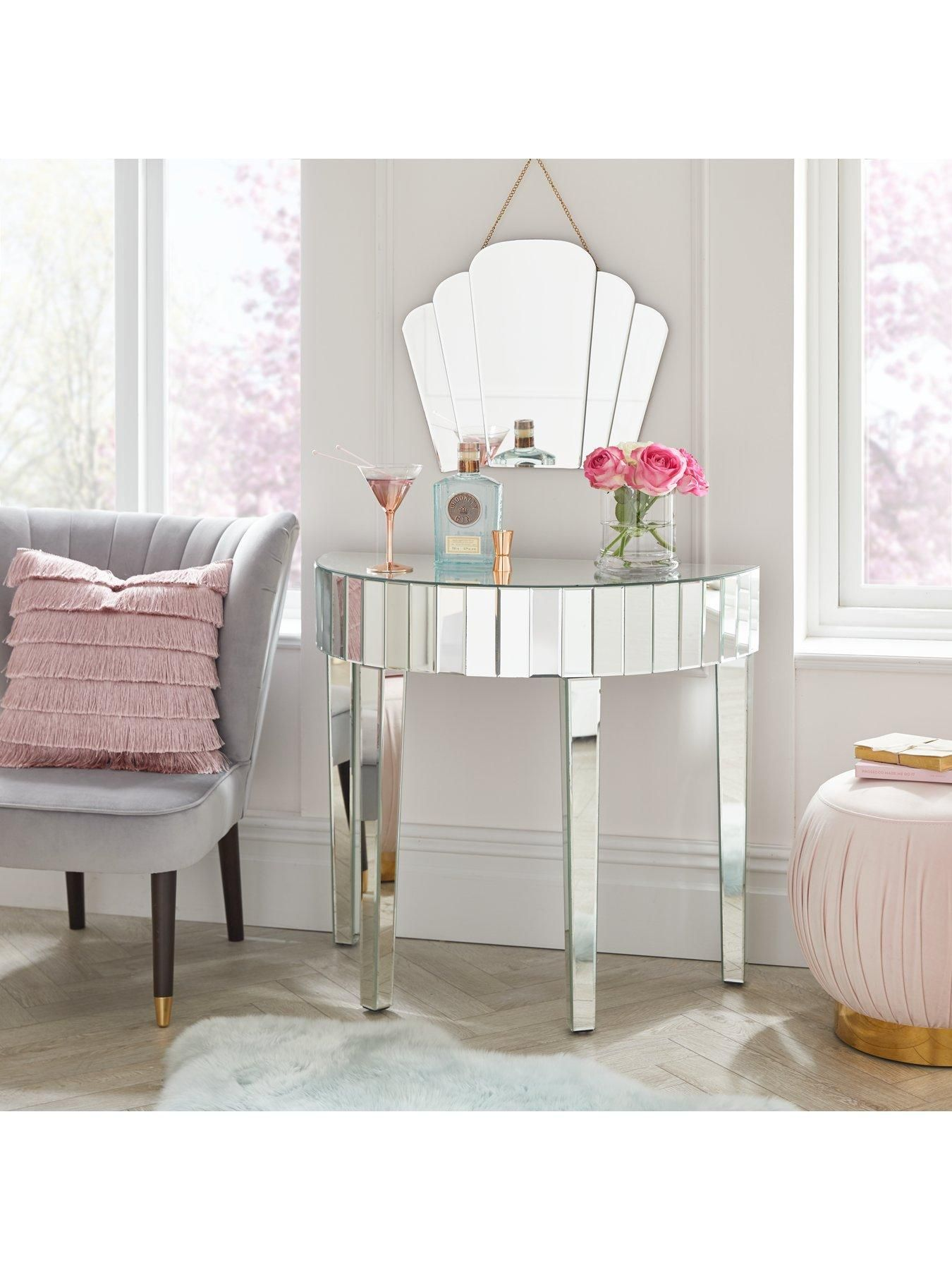 Michelle Keegan Home Vegas Half Moon Mirrored Occasional Console