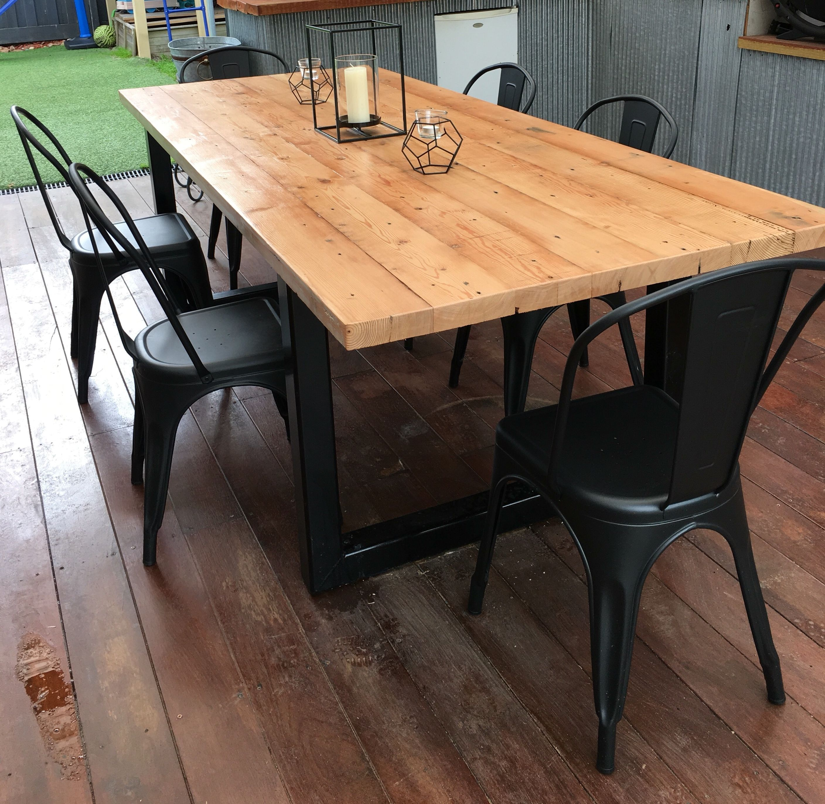 Recycled oregon industrial dining table made by for Reclaimed wood furniture oregon