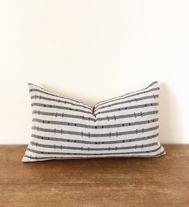 Handwoven Chiangmai Tribal Gray Striped Lumbar Pillow Cover Etsy Etsy Pillow Covers Lumbar Pillow Cover Hand Weaving