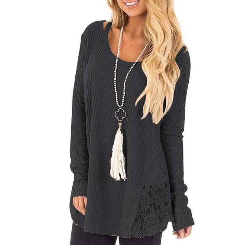 ae01fe0d562543 Round Neck Lace Patchwork T-Shirt in 2019 | sweater dress outfit ...