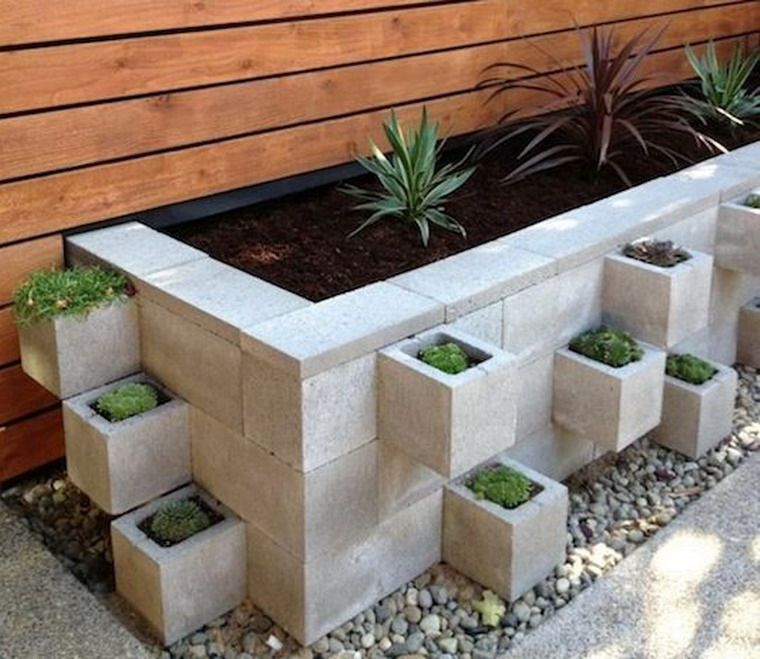 Cinder blocks planter | The beauty of parks and gardens | Pinterest ...