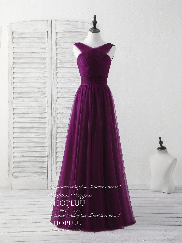 Purple v neck tulle long prom dress tulle bridesmaid dress long
