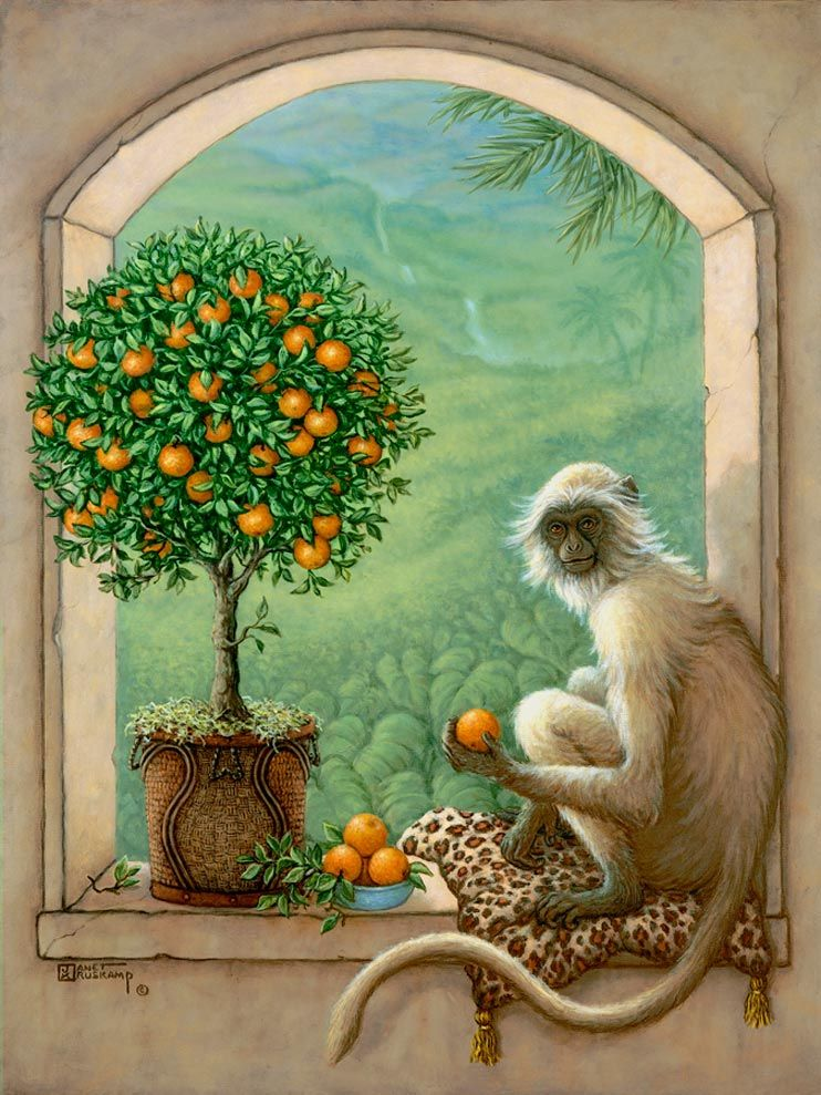 Monkey and Orange Tree, a painting of a monkey resting on a leopard skin pillow sampling an orange from an orange topiary tree, one of the Original Oil Paintings by artist Janet Kruskamp
