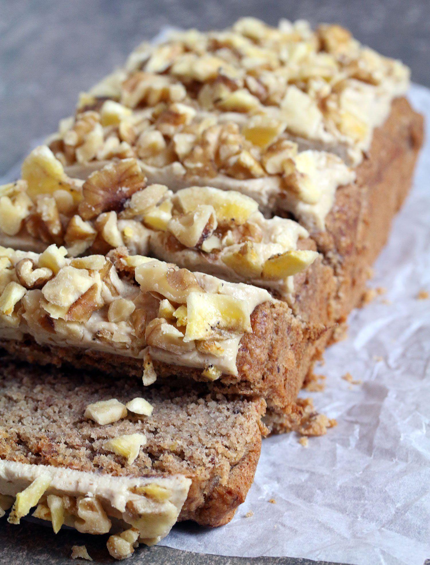 Banana bread with creamy walnut frosting vegan gluten