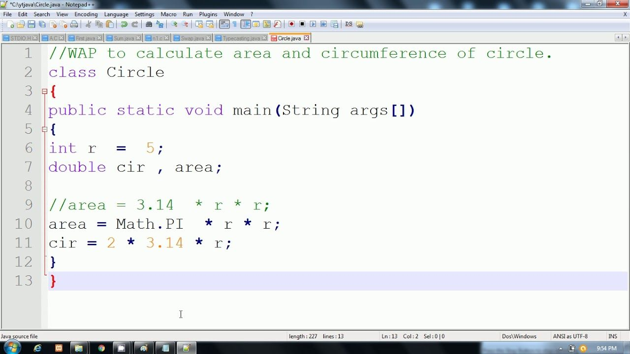 Java Program to calculate area and circumference of circle