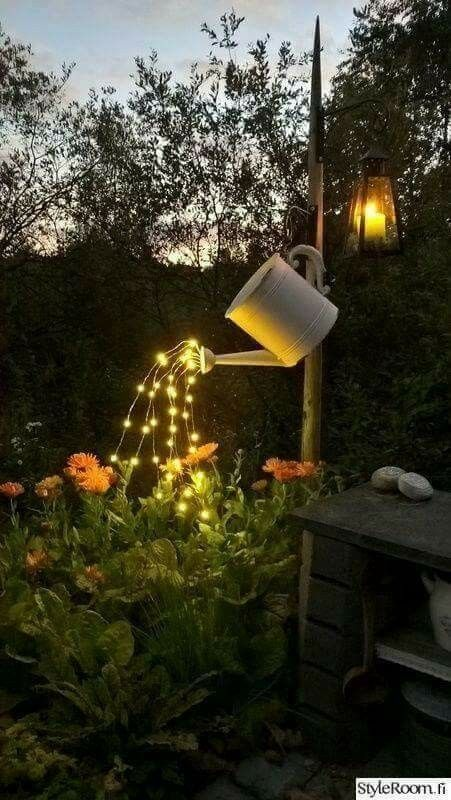 Outdoor Fairy Lights Adorable Such A Brilliant Idea  Glowing Watering Can Made With Fairy Lights Inspiration