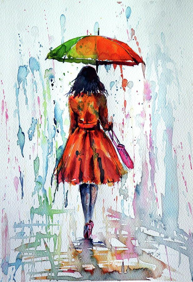 Colorful Rain Painting By Kovacs Anna Brigitta Poster Color Painting Umbrella Art Colorful Paintings