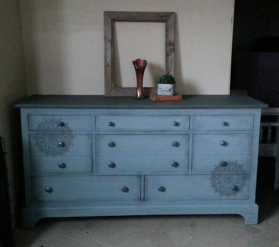 Boho Chic Dresser Vintage Duck Egg Blue With Slate Gray Top With Mandala Pattern Accents Crea Shabby Chic Dresser Blue Painted Dresser Blue Painted Furniture [ 850 x 960 Pixel ]