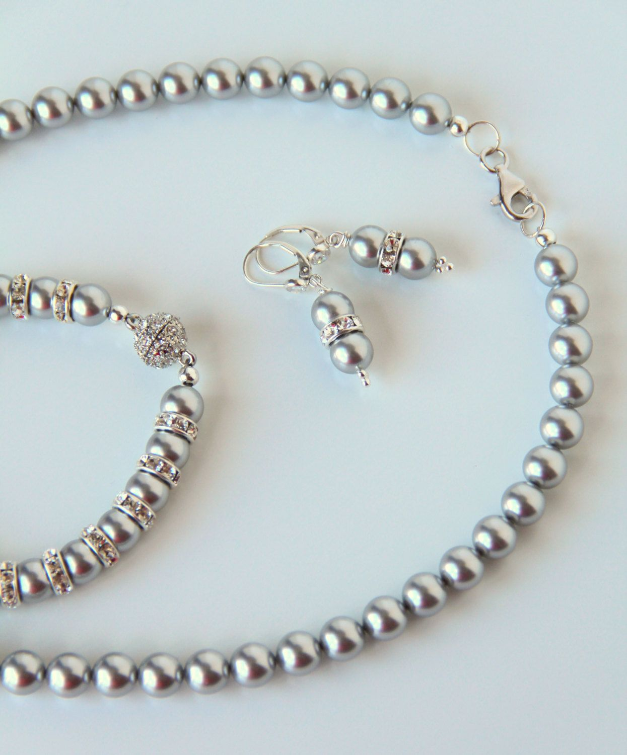 Sterling Silver Pendant Necklace Made with Cream Crystal Pearls from Swarovski o3nnNCiVv