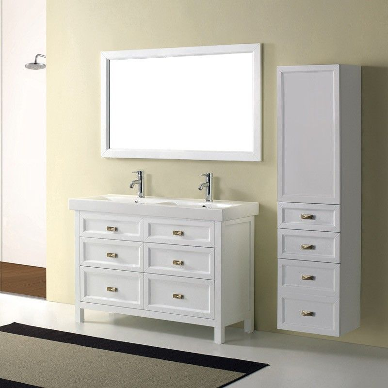 the bathroom vanity with its combination of modern lines and retro styling brings a formal modern look to a bathroom