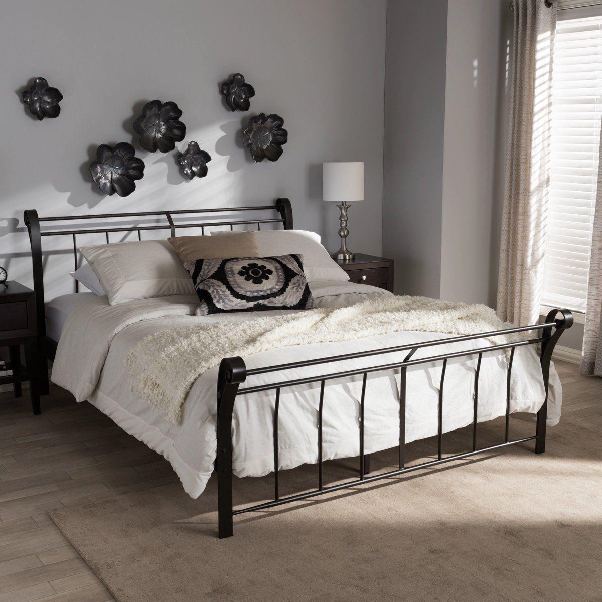 Best Baxton Studio Sienna Black Metal Queen Size Platform Bed 400 x 300