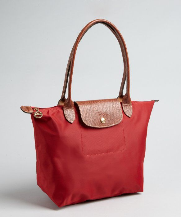 e990ed54784d Longchamp red nylon  Le Pliage  small shopper tote