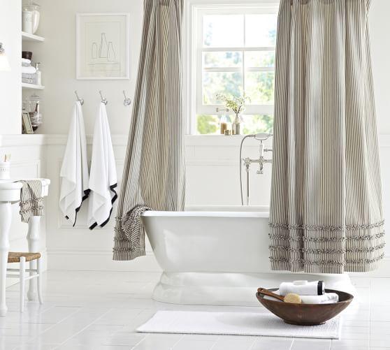 Ticking Stripe Ruffle Shower Curtain Cool Shower Curtains