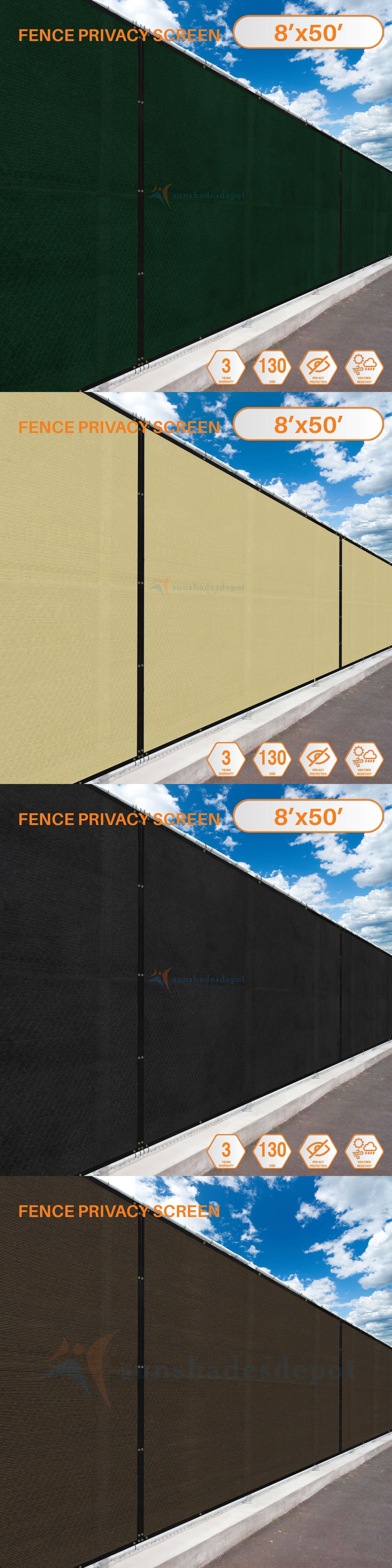 Privacy Screens Windscreens 180991: 8 X50 Ft Fence Privacy Screen ...