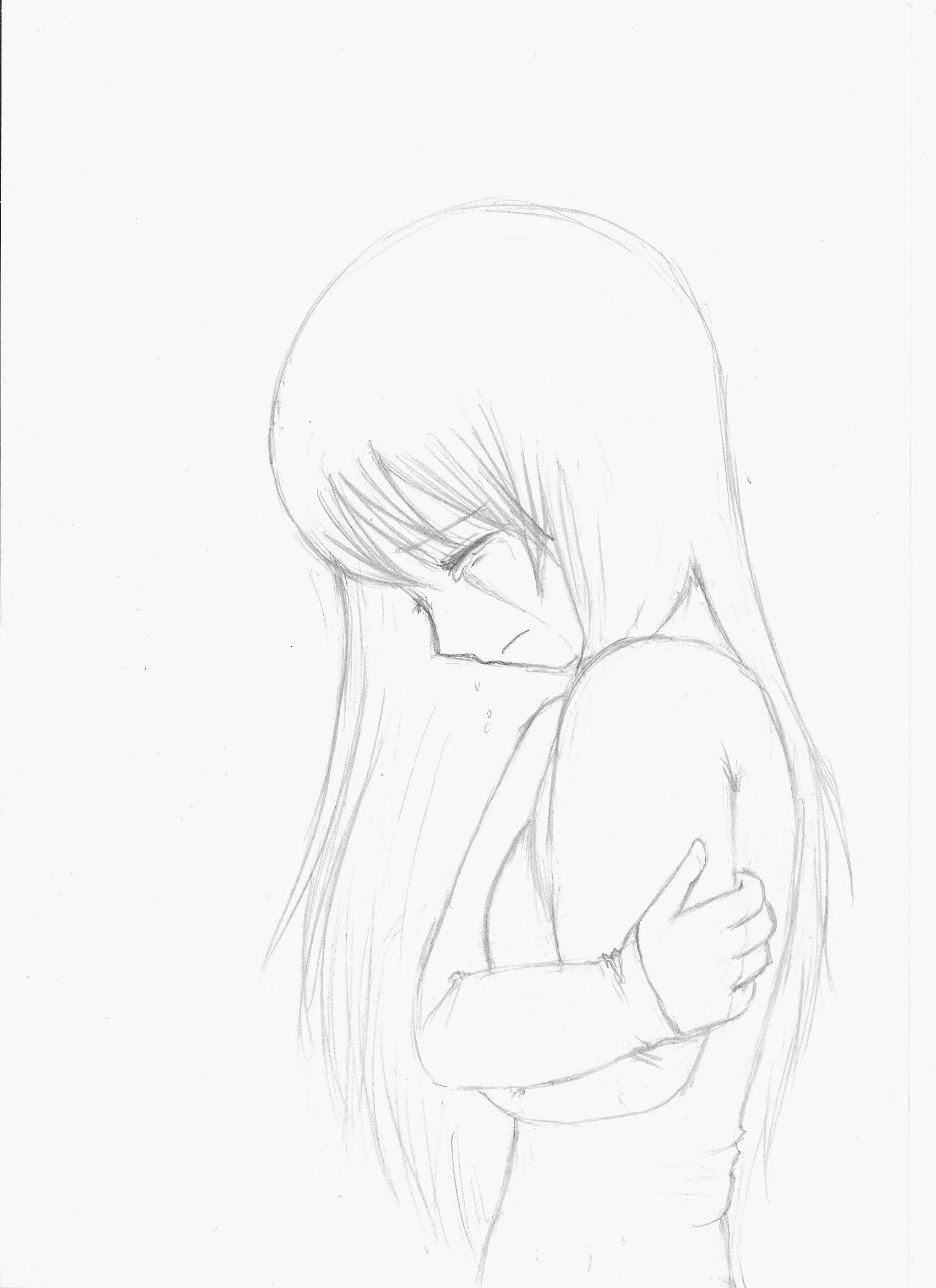 Crying anime crying anime crying girl sketch