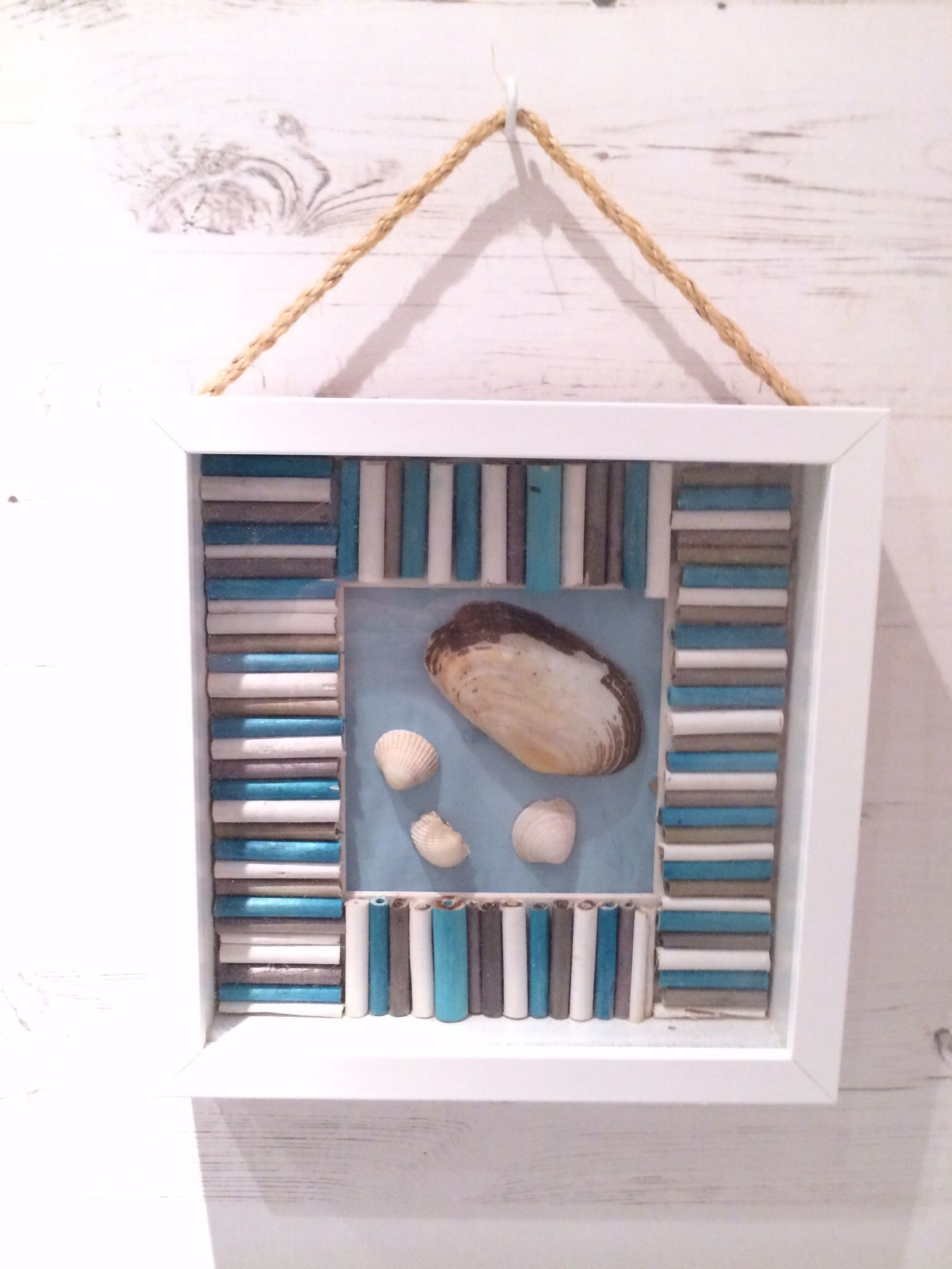 Bathroom picture Frame ikea Shells from southport beach Made in my