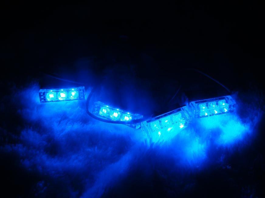 4X3 LED waterproof Emergency grill Strobe Lights Blue | Moto ...