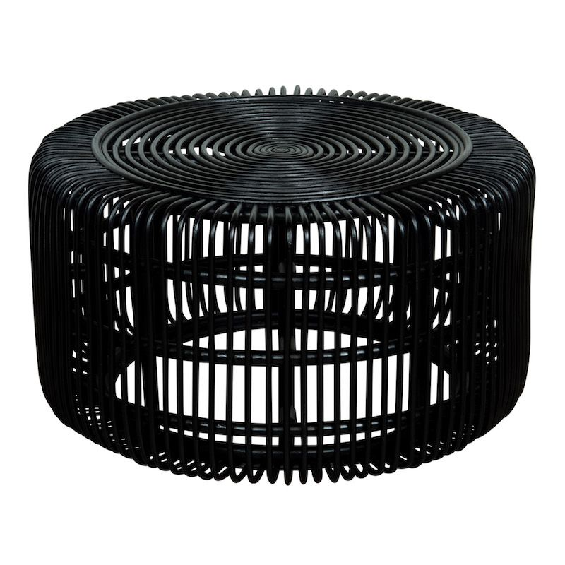 Ike Coffee Tables At Found Vintage Rentals Round Black Rattan Coffee Table Black Coffee Tables Rattan Coffee Table Coffee Table