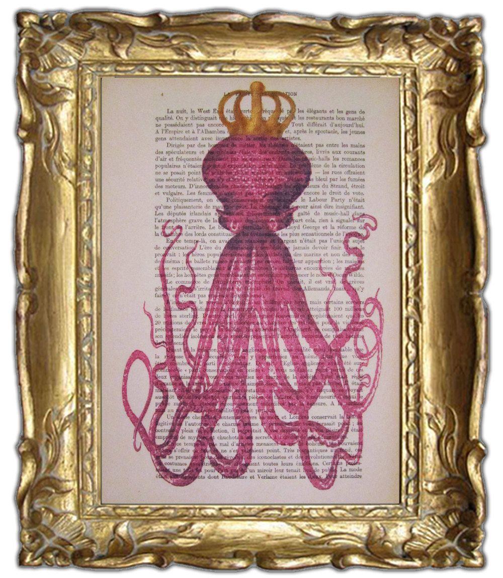 Octopus with golden crown- ORIGINAL ARTWORK Hand Painted Mixed Media on 1920 famous Parisien Magazine 'La Petit Illustration'. $10.00, via Etsy.