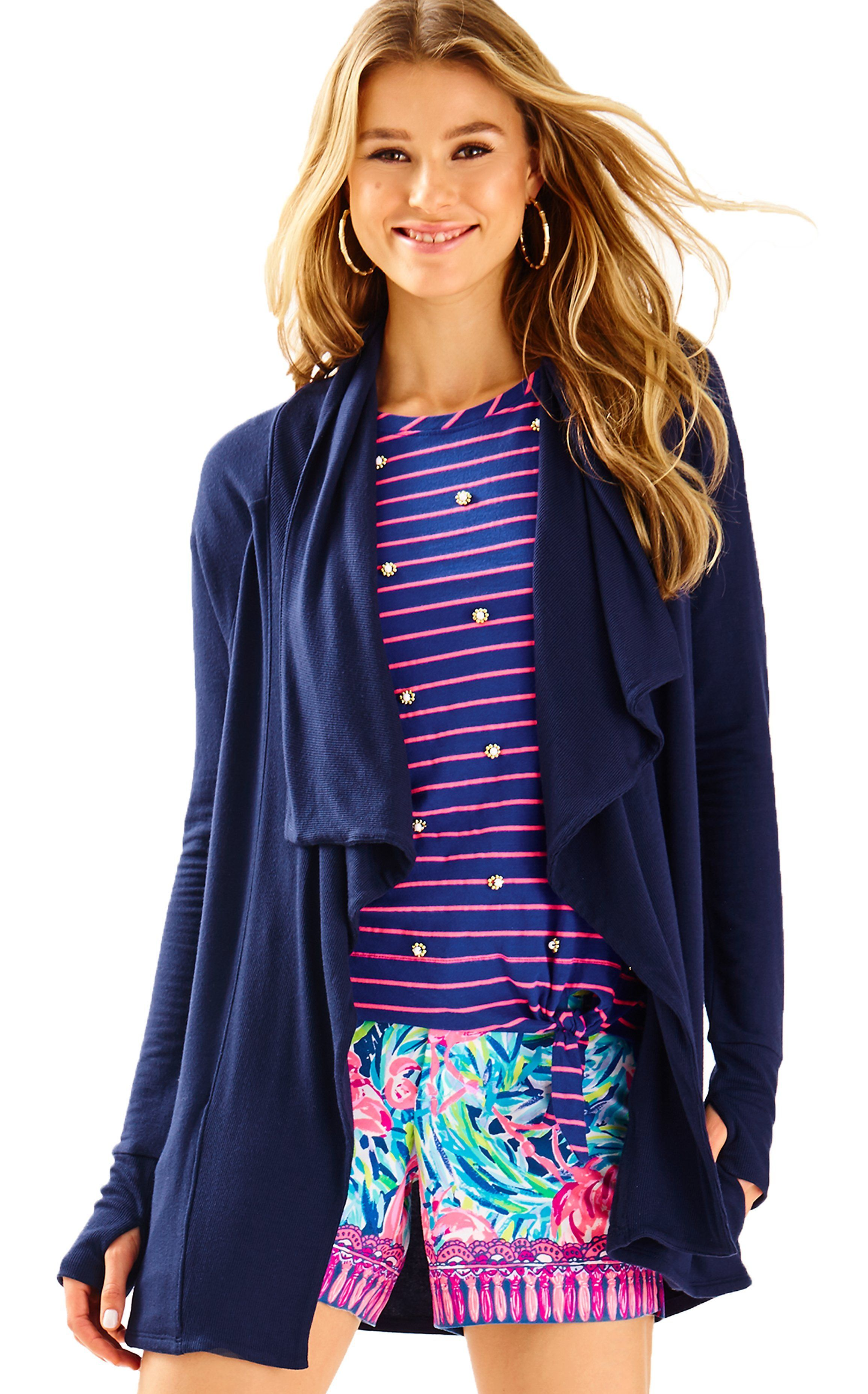 98ddba1449a ELYSSA WRAP in true Navy Knit Jacket