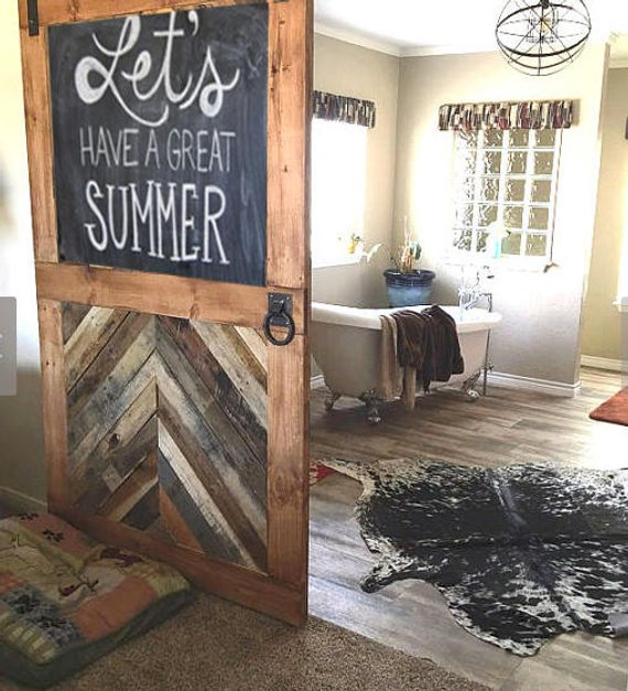 Custom Sliding Barn Door Half Chevron Half Chalkboard Handle Barn Doors Sliding Barn Door Kitchen Barn Doors