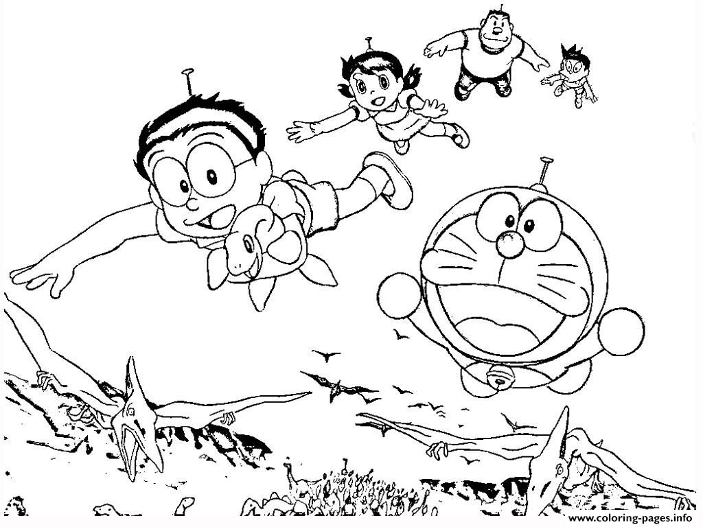 Print Doraemon With Dinosaurs 61a2 Coloring Pages