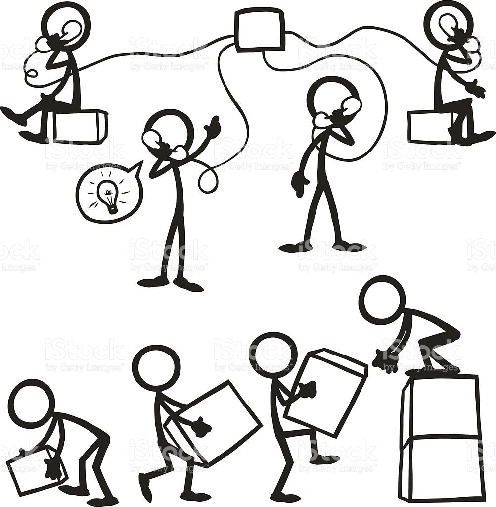Stick Figure People Business Working Together Stock