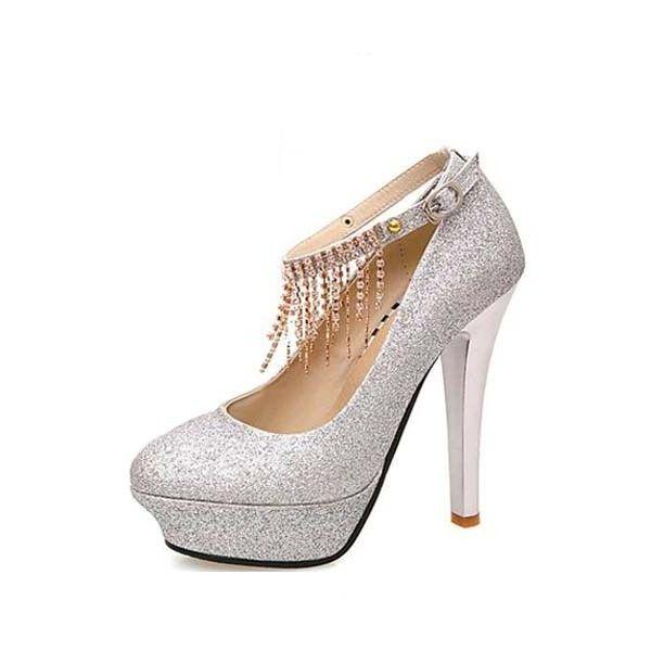 Glitter Upper Rhinestone Tassel Ankle Strap Platform Heels ($26 ...