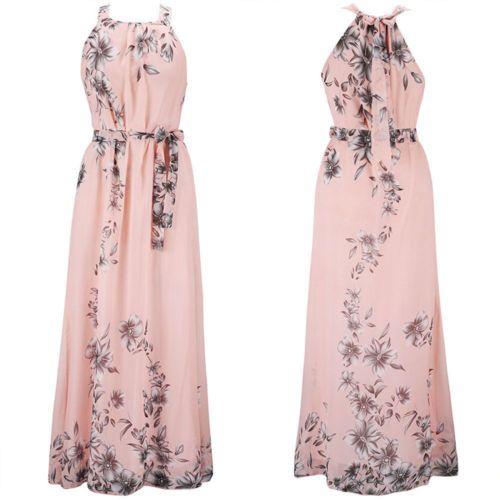 f055c27805d Women Boho Floral Print Long Chiffon Dress Sleeveless Skirts Summer Beach  Sun Dress Gown Casual Plus Size Long