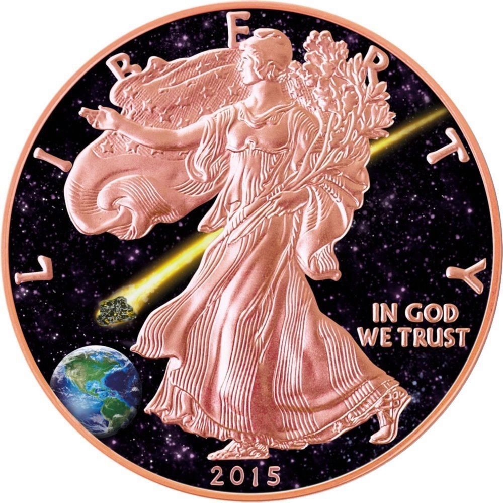 Admire Meteorite American Eagle 1oz Silver Coin Rose Gold Plated Usa 2015 Silver Coins Eagle Coin Custom Coins