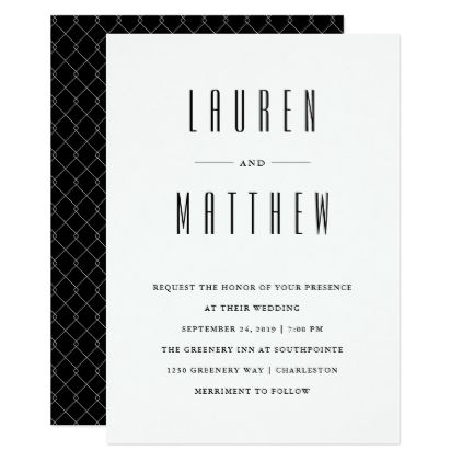 Modern Classic  Black And White Wedding Card  Minimal Gifts