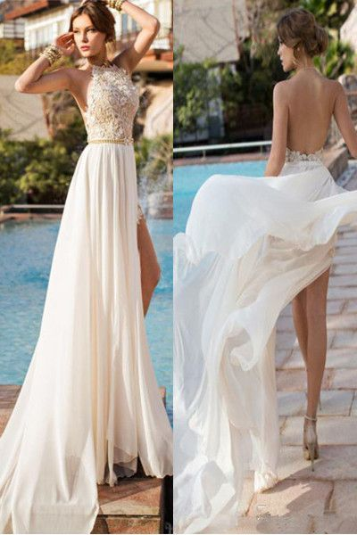 Sexy Backless High Neck Lace Slit Beach Bridal Gowns Wedding Dresses ...