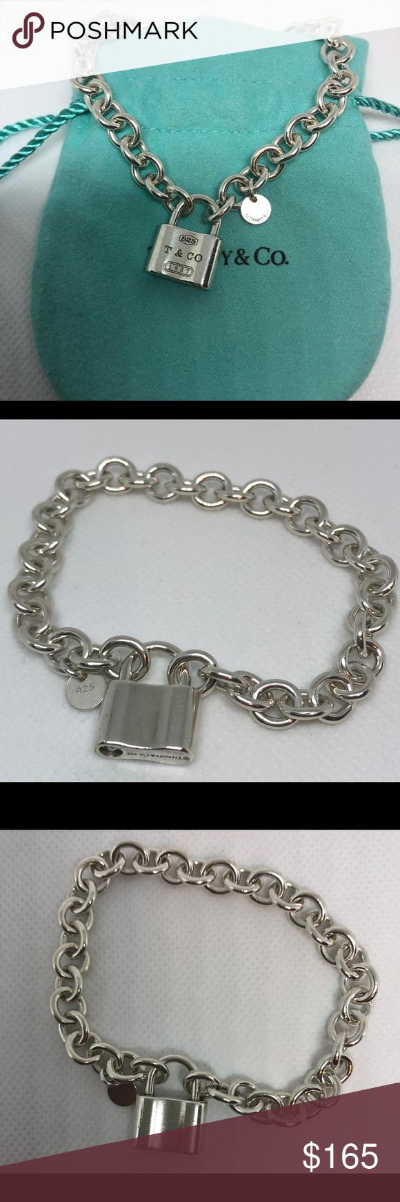 31f0804b2 TIFFANY 1837 Padlock Charm Chain Link Bracelet 100% Authentic Tiffany & Co  1837 Padlock Bracelet