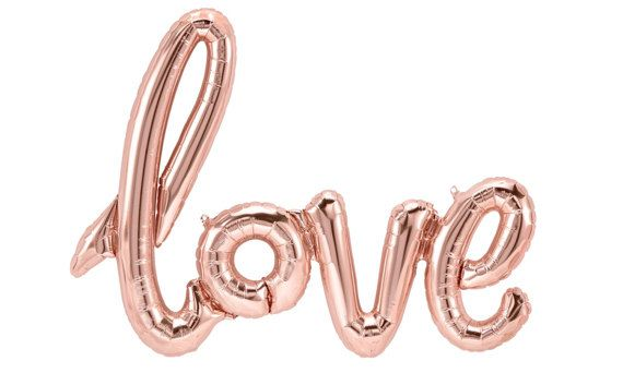 Rose Gold LOVE Balloon Script Banner Balloon Rose by PartyHaus