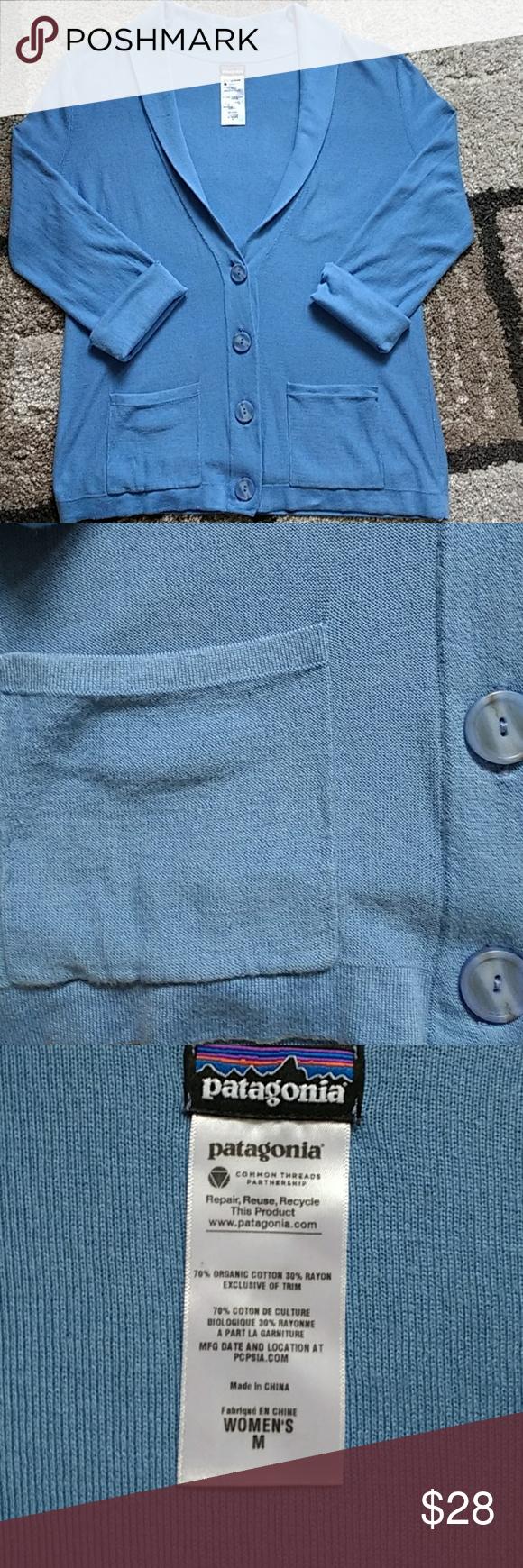 "Patagonia cardigan size medium Adorable corn flour blue pocket cardigan size medium with a 19"" bust and 24"" length Patagonia Sweaters Cardigans"