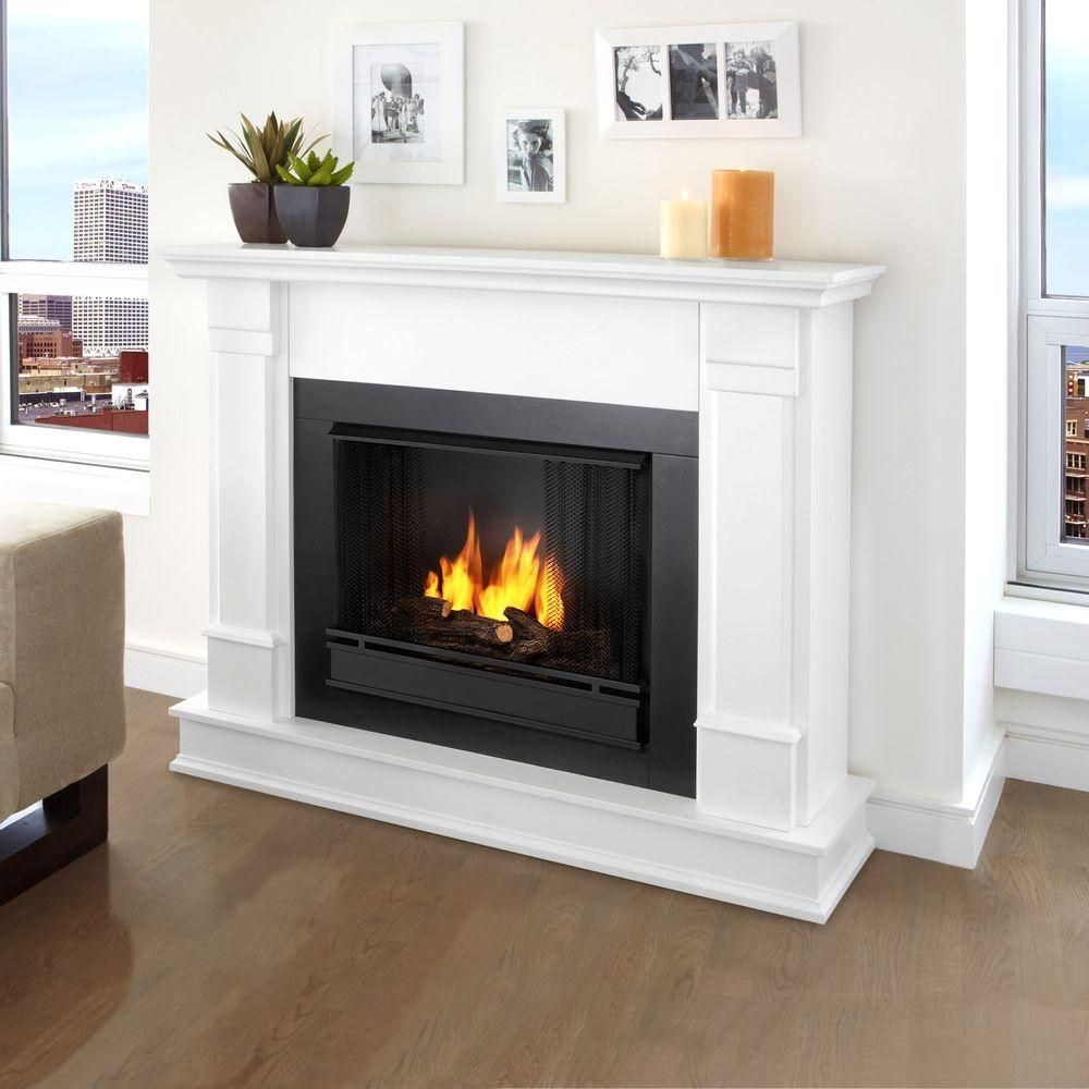 Real Flame Silverton 48 In Gel Fuel Fireplace In White G8600 W