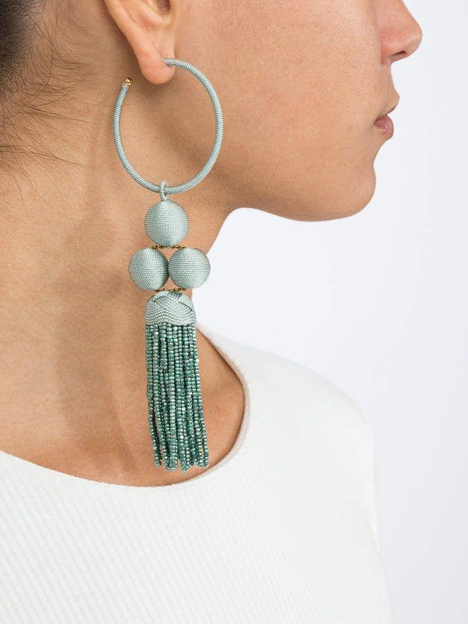 9bbab3007d3fb Rebecca De Ravenel Green cha cha tassel hoop earring | Products ...