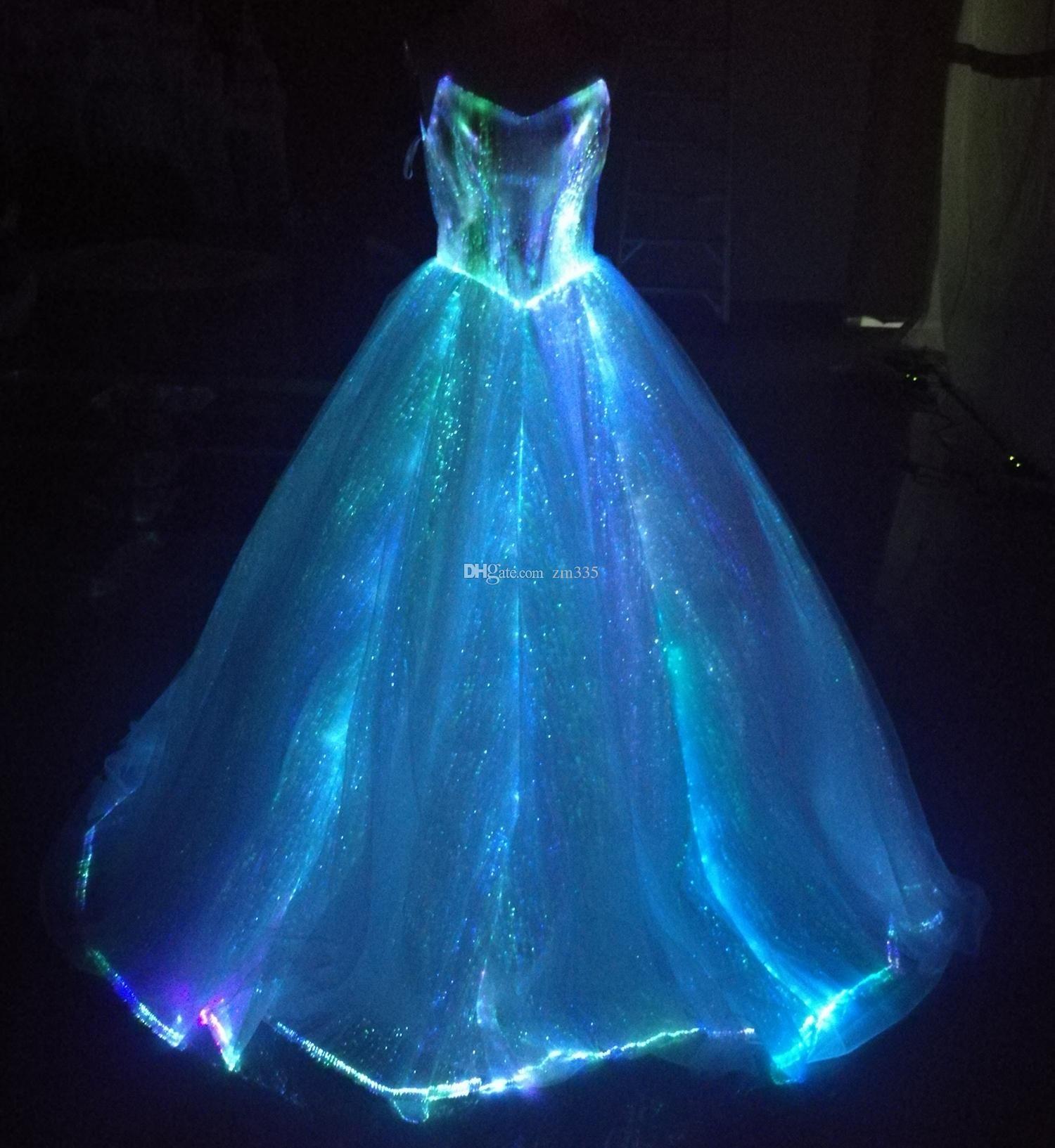 Fiber optic wedding dress  Fiber optic Light up ALine Spaghetti Strap Wedding Dresses Glow in