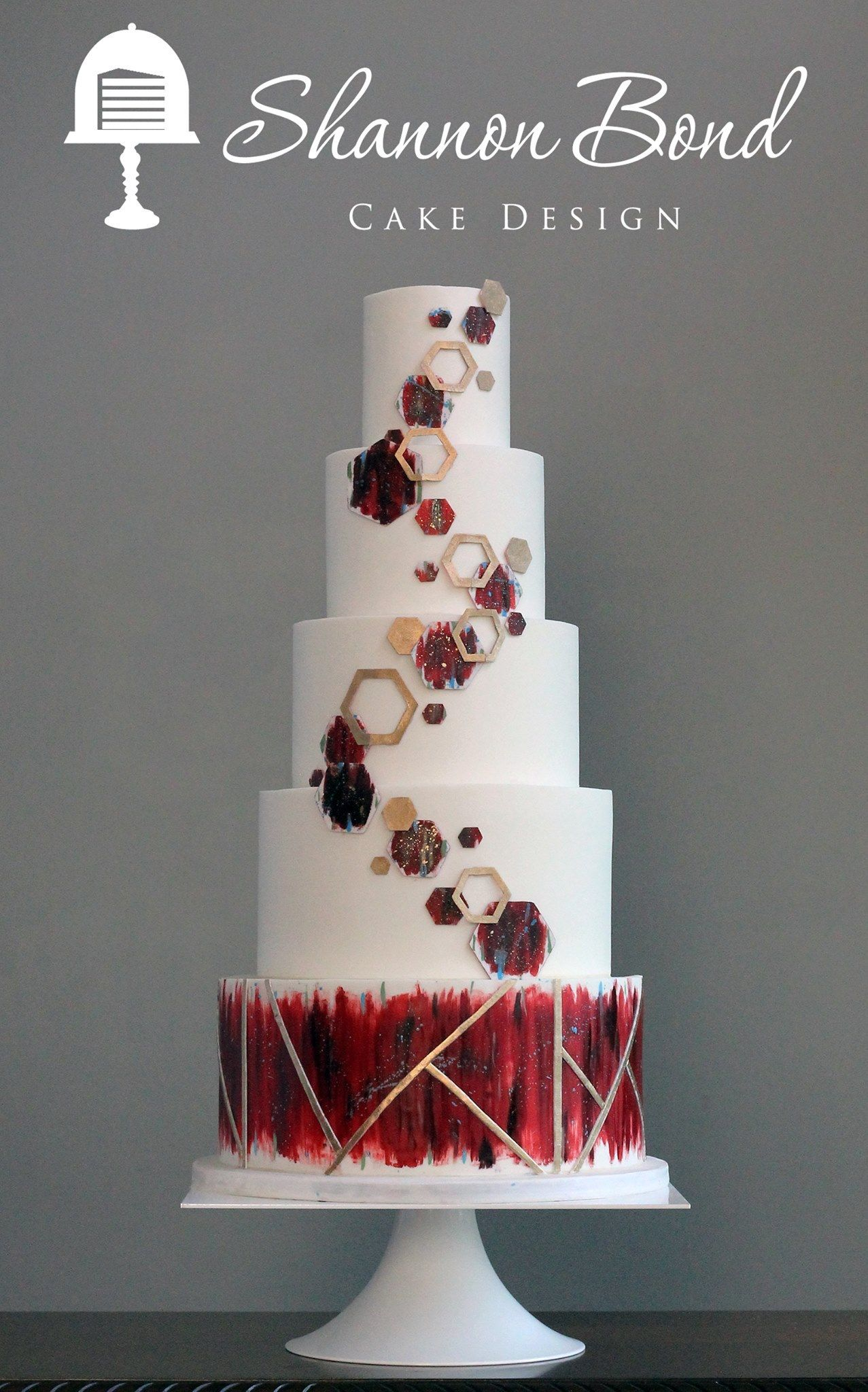White and dark red geometric wedding cake wedding cakes what