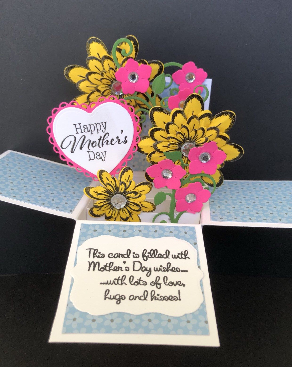 flower pop up card mothers day card explosion box card