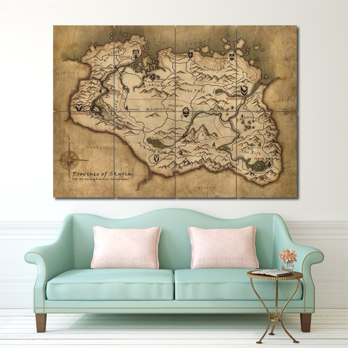 Province Of Skyrim , Map , Block Poster , Giant Wall Art , Large Poster