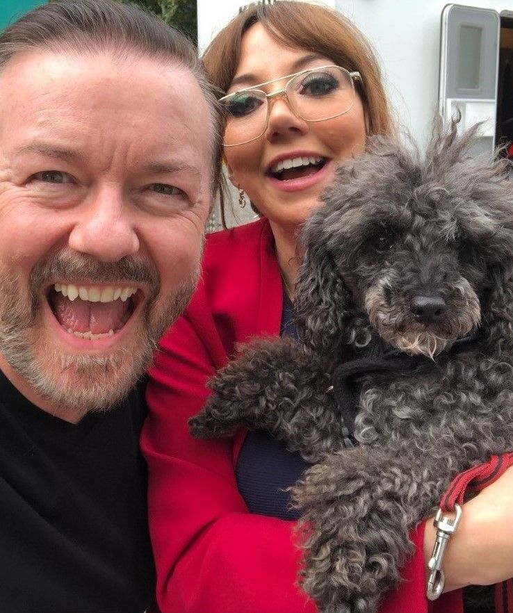 Poodle meets Ricky Gervais after finding new home with